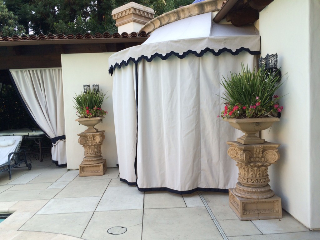 Sunbrella Curved Concave Door Awning with closed Drapes