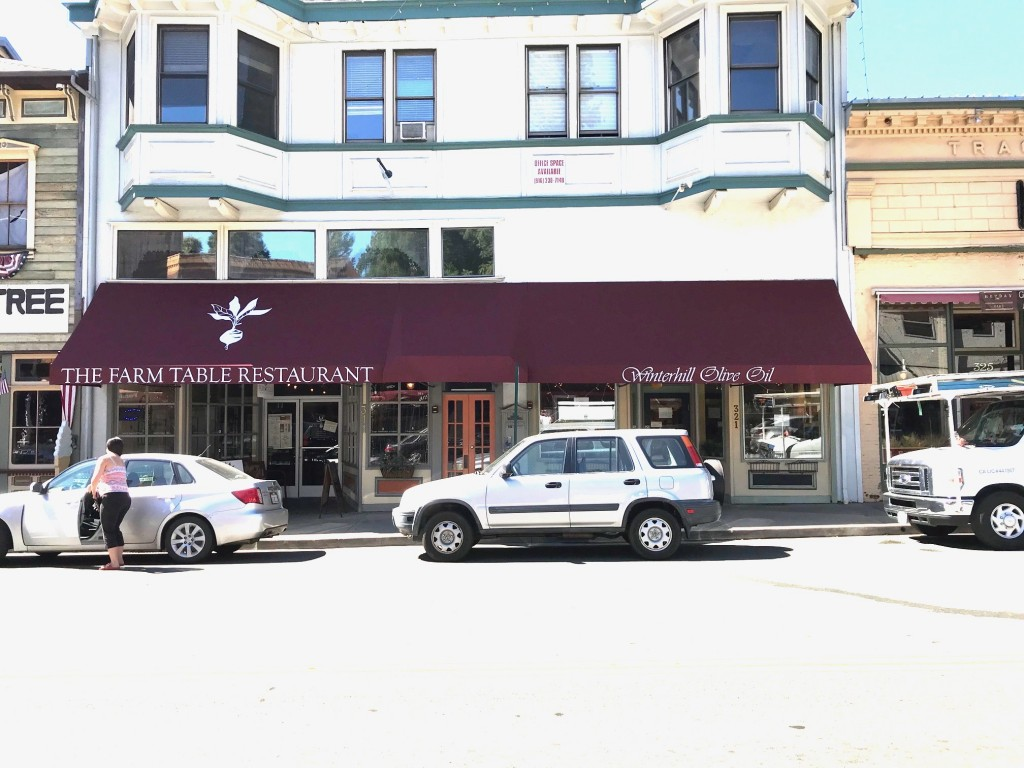 Storefront Awning using Burgundy Firesist Fabric with graphics
