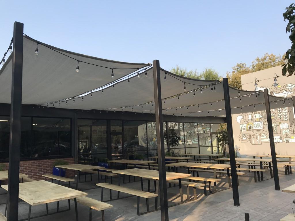 Overhead shade Mesh panels