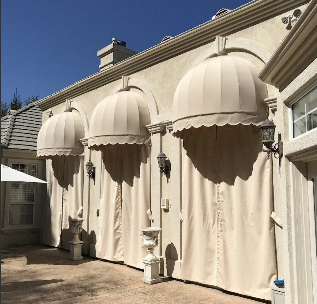 Domed Sunbrella Awnings with Drapes