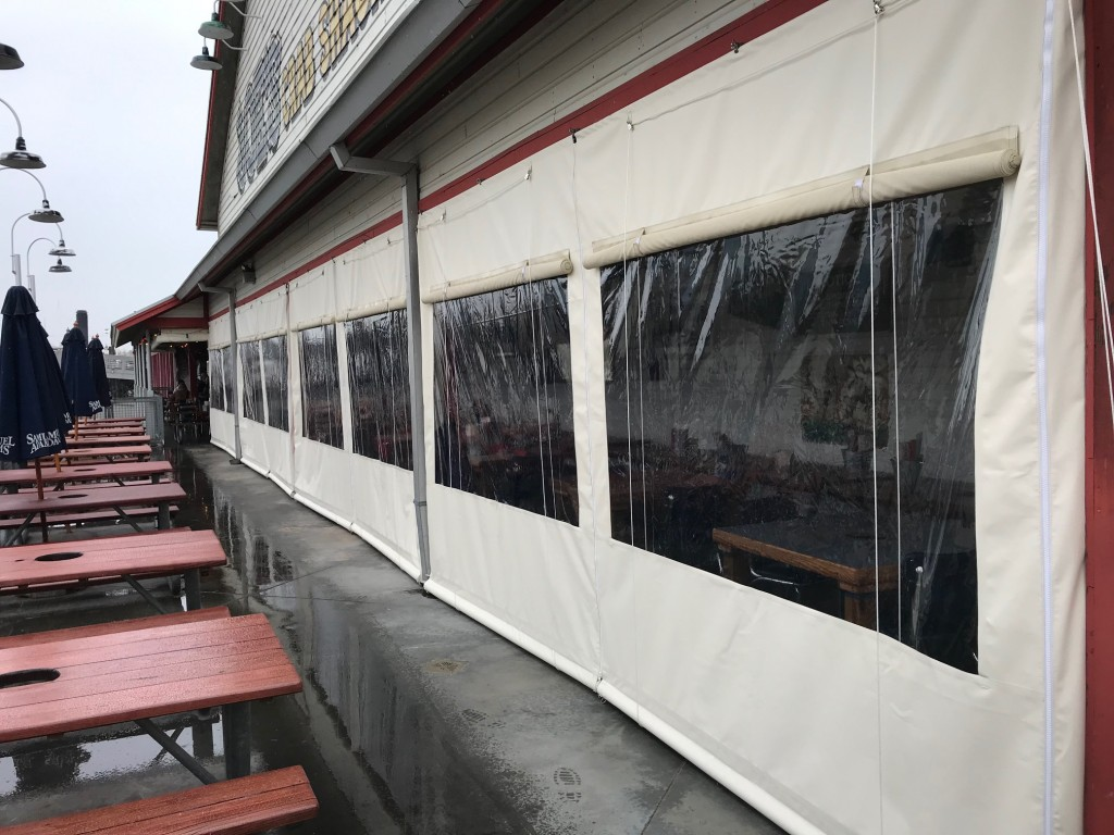 Rope Up Drop Curtains with Clear PVC Window using Patio 500 Vinyl
