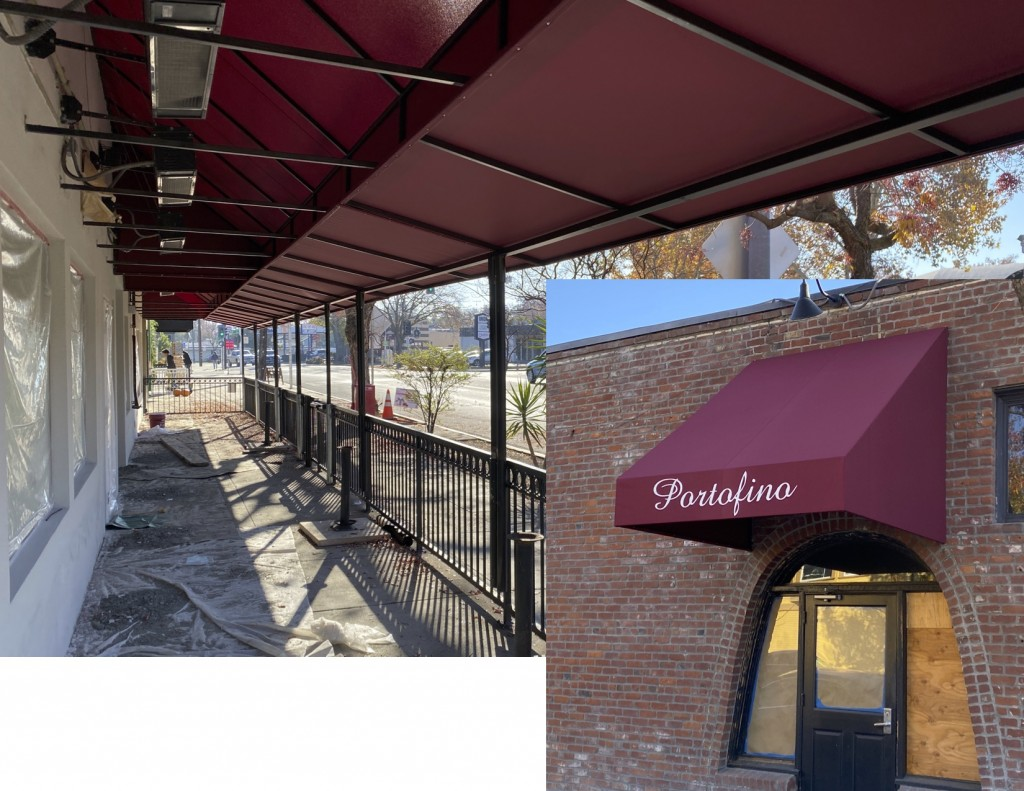 Restaurant Canopy with Rectangular umbrellas using Starlight Fire retardant fabric
