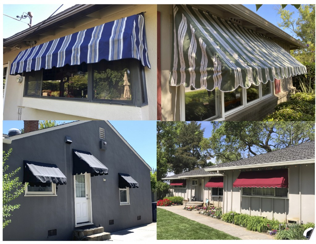 Rope pull up Standard Window Awnings using Sunbrella Fabric