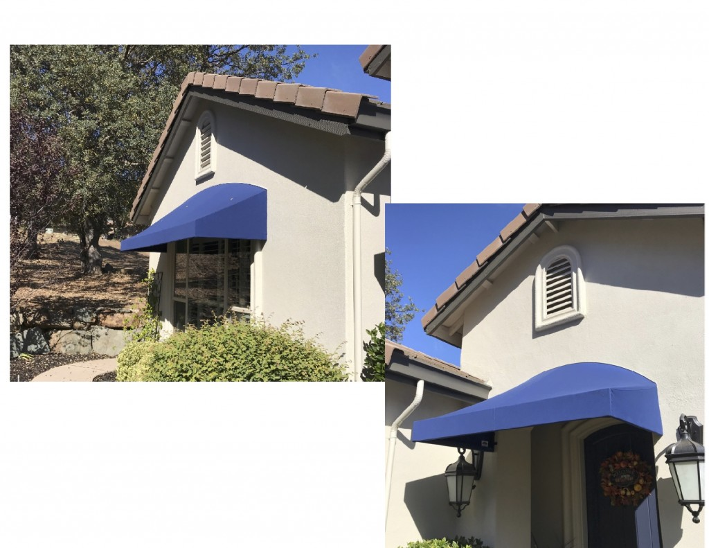 Sunbrella Curved Top Straight Front stationary awning using Sunbrella fabric