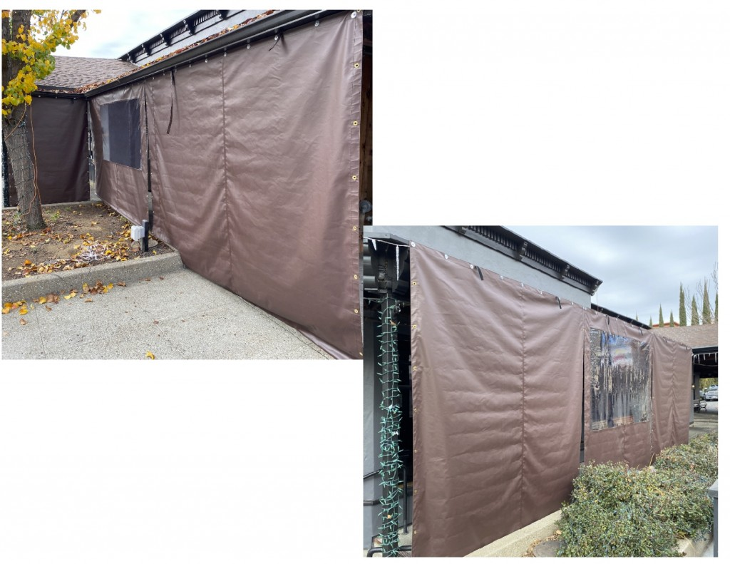Protective weather curtains using Fire Retardant Vinyl