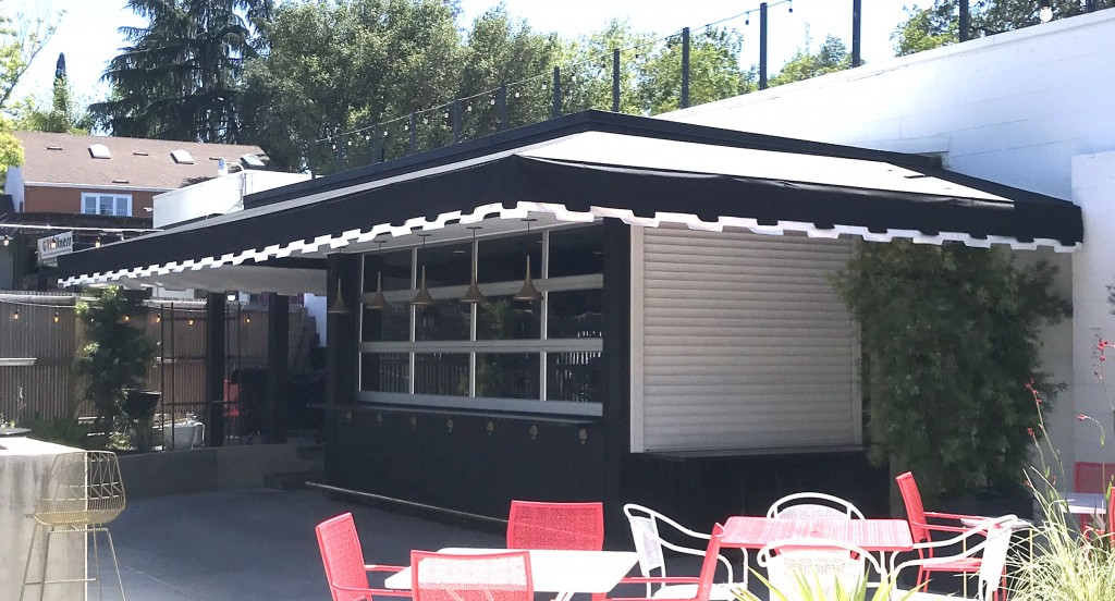 Mitered corner Commercial awning with double valance using fire retardant Starlight fabric