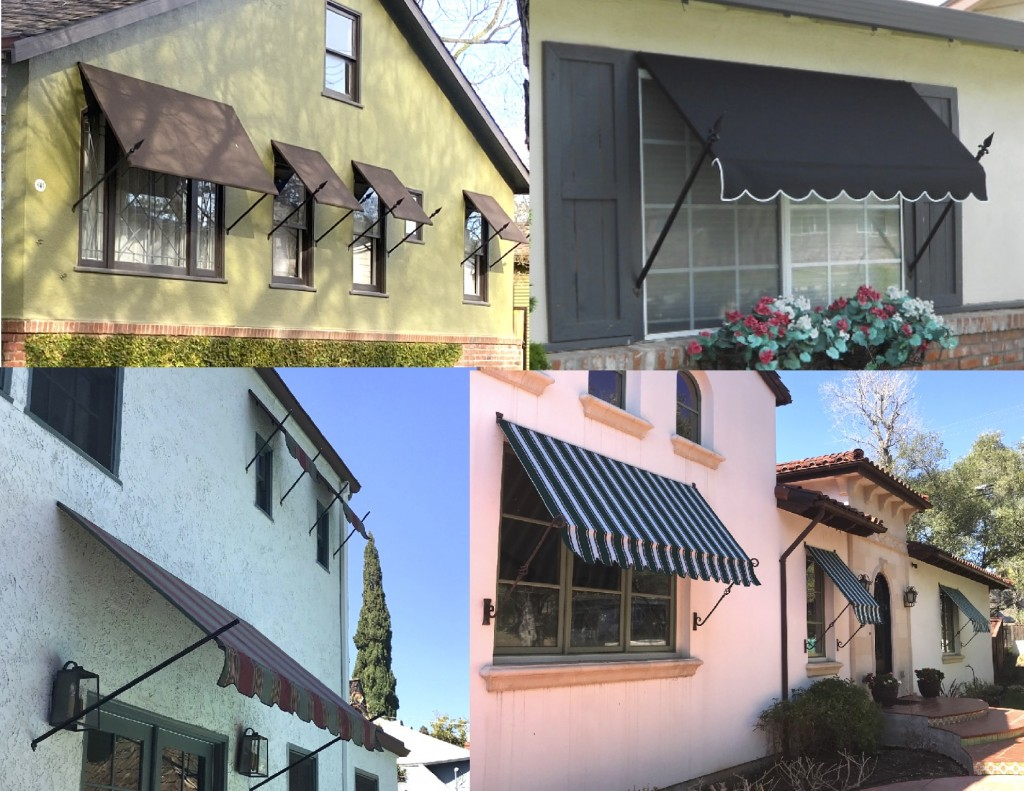 Residential Spear Style awnings using Sunbrella fabric